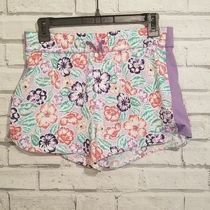 REI Girls XL(18) Quick Dry Shorts Flowers & Purple